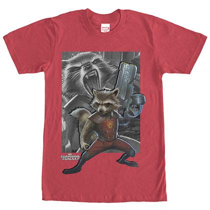 Guardians Of The Galaxy Raccoon Gun Red T-Shirt