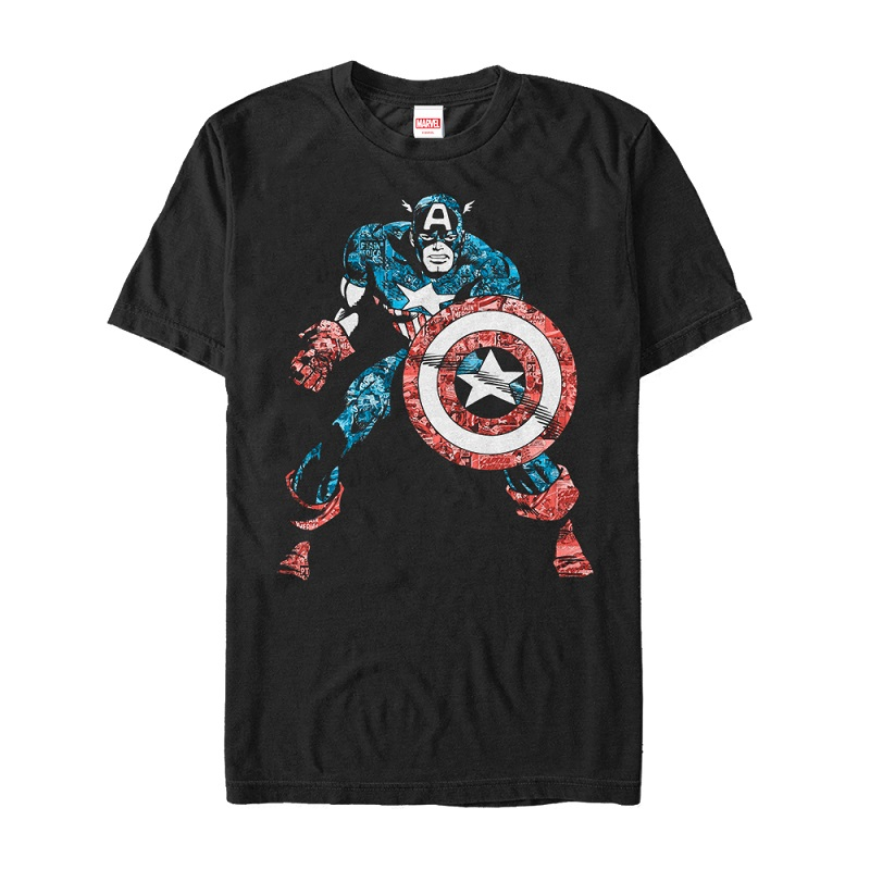 Captain America Comic Print Black Tshirt