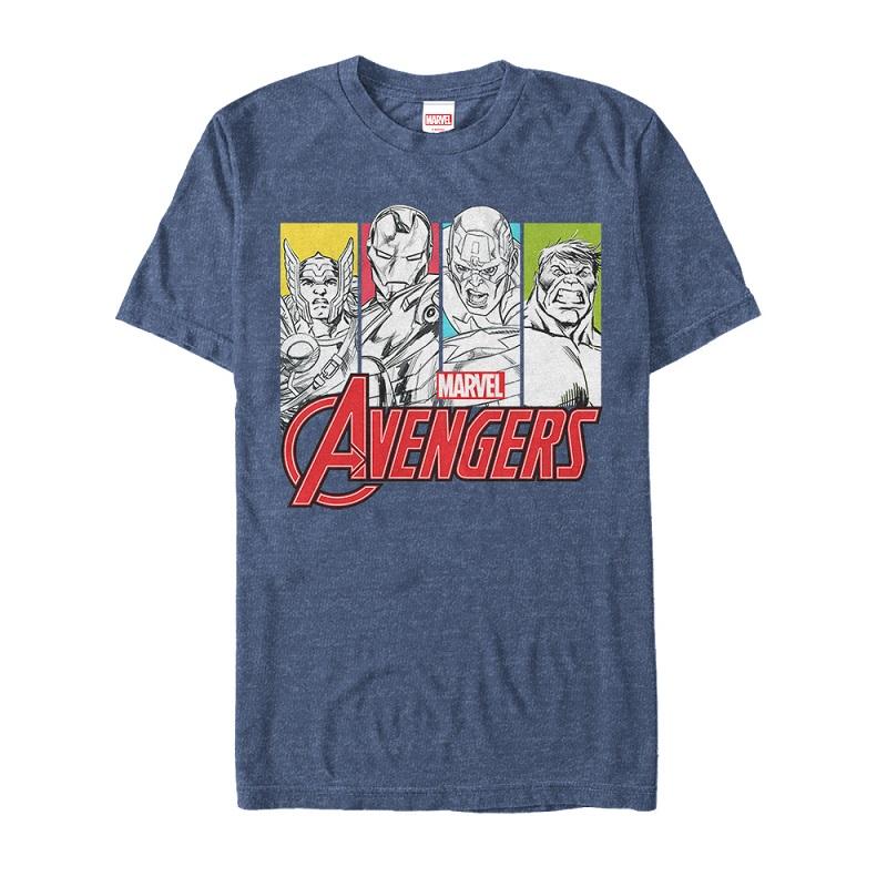 The Avengers Panels Blue Tshirt