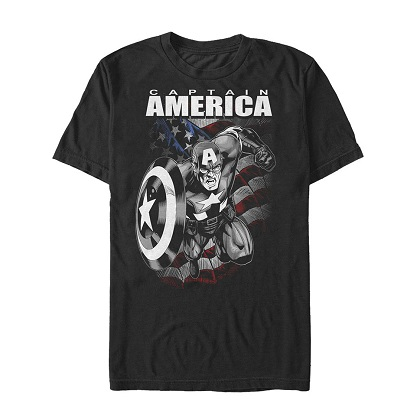 Captain America American Hero Black Tshirt
