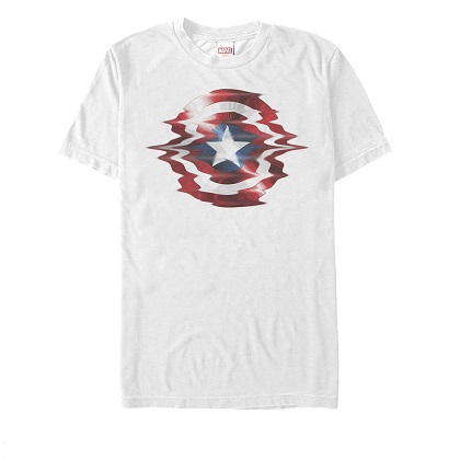 Captain America Glitch Shield White Tshirt