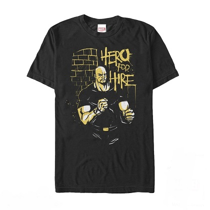 Luke Cage Hero For Hire Black Tshirt