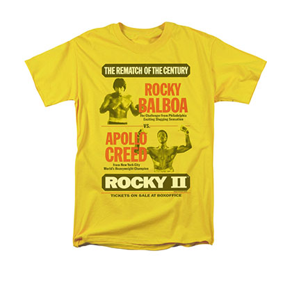 Rocky Men's Yellow Apollo Creed Rematch Poster Tee Shirt
