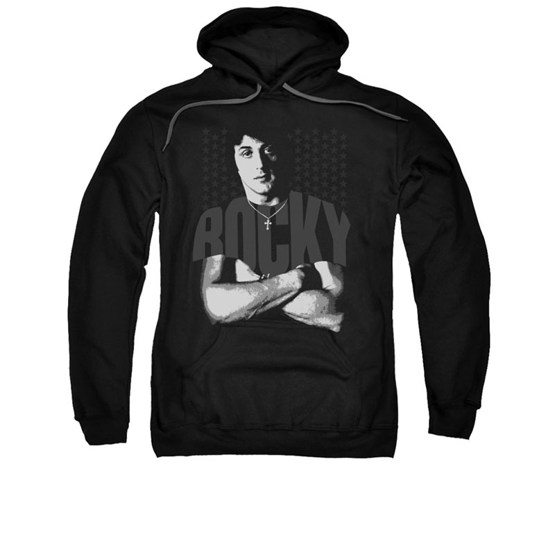 Rocky Chest Logo Black Pullover Hoodie