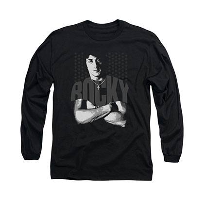 Rocky Crossed Arms Black Long Sleeve T-Shirt