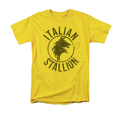 Rocky Men's Yellow Italian Stallion Horse Tee Shirt