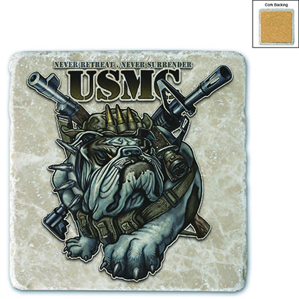 Never Retreat Never Surrender Marine Corps Stone Coaster