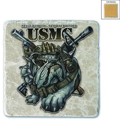 Never Retreat Never Surrender Marine Corps Stone Coaster