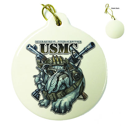 Never Retreat Never Surrender Marine Corps Porcelain Ornament