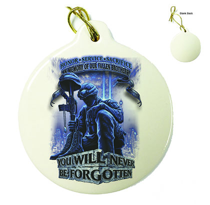 Soldier You Will Never Be Forgotten Porcelain Ornament