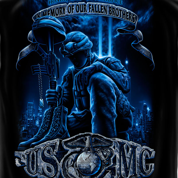 Men's USMC Marines Fallen Brothers Patriotic T Shirt