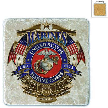 Marines USMC Badge Of Honor Stone Coaster