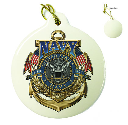 US Navy The Sea Is Ours Porcelain Ornament