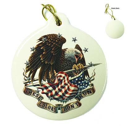 USA Patriotic These Color Don't Run Porcelain Ornament