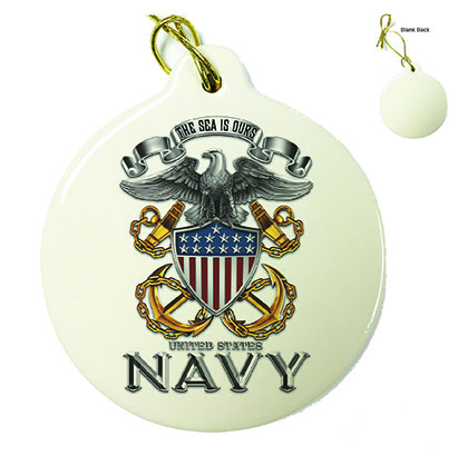 US Navy Full Print Eagle Porcelain Ornament
