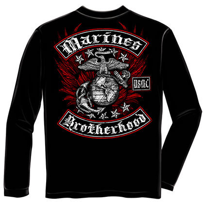USMC Marines Brothershood Black Long Sleeve T-Shirt