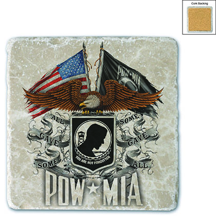 Double Flag Eagle POW Stone Coaster