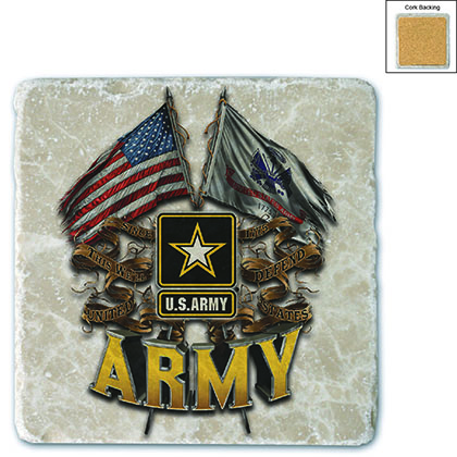 US Army Double Flag Stone Coaster