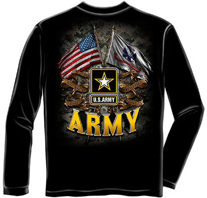 US Army Flags Black Long Sleeve T-Shirt