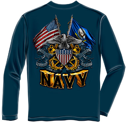 US Navy Flags Blue Long Sleeve T-Shirt