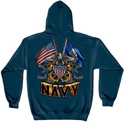 US Navy Double Flag Blue Hoodie