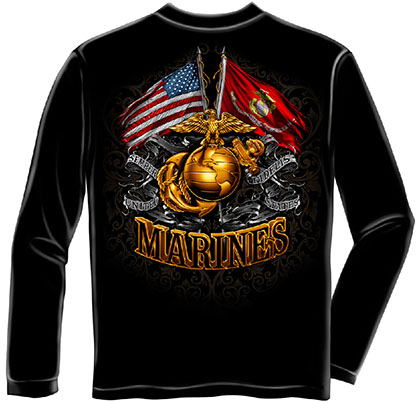 USMC Marines Flags Black Long Sleeve T-Shirt