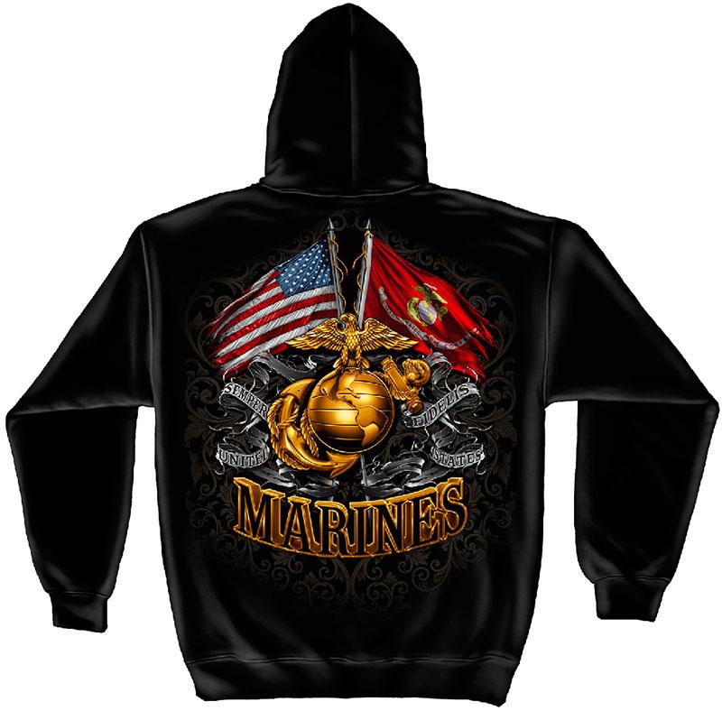 US Marines Double Flag Black Hoodie