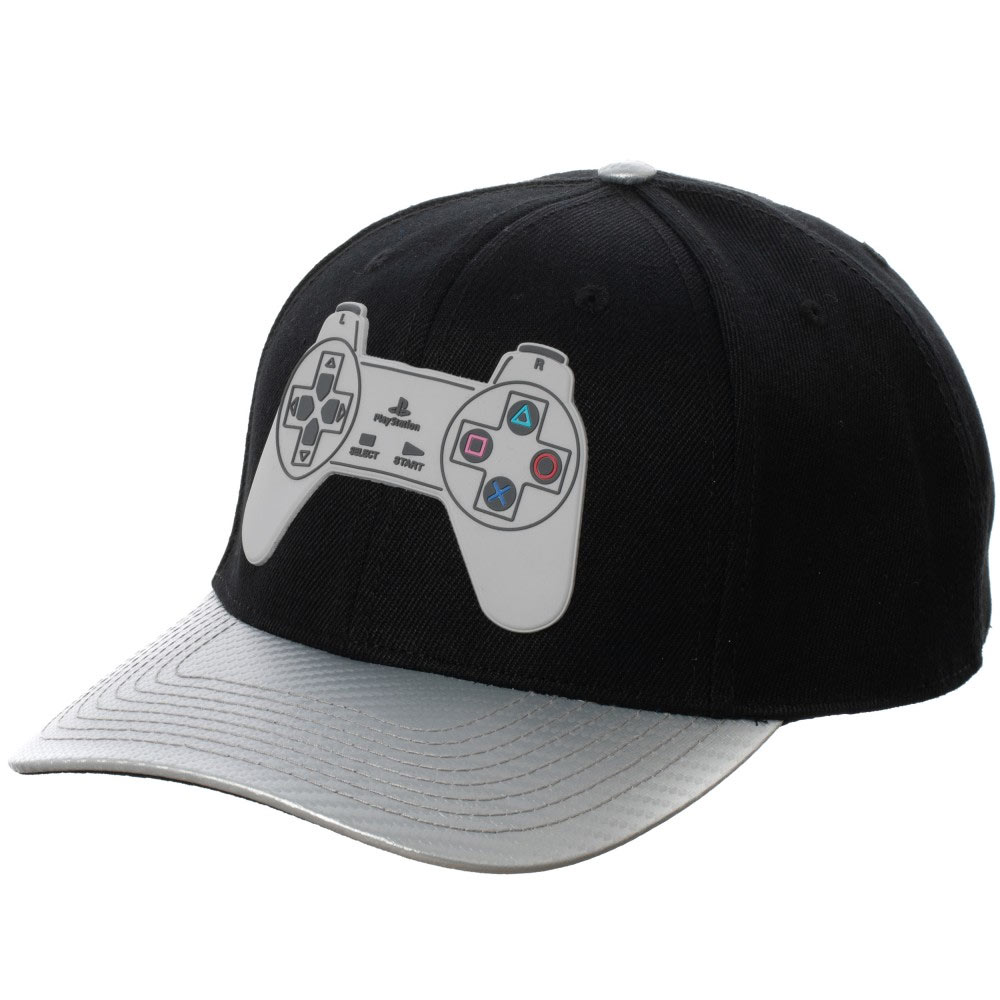 PlayStation Controller Adjustable Black And Grey Snapback Hat
