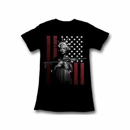 Marilyn Monroe God Bless Womens Black T-Shirt