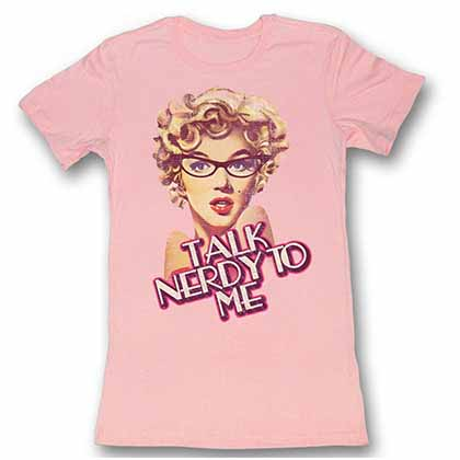 Marilyn Monroe Nerdy Womens Light Pink Bf Tee T-Shirt