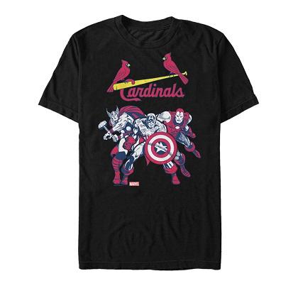 Avengers St Louis Cardinals Black Tshirt