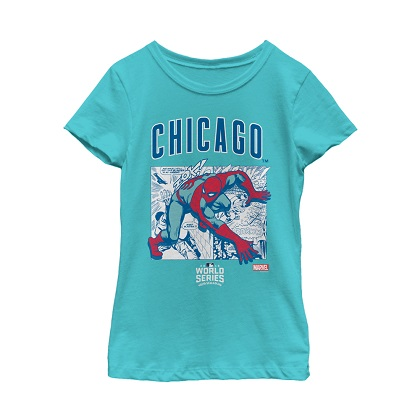 Spiderman Chicago Cubs Women's Blue Tshirt