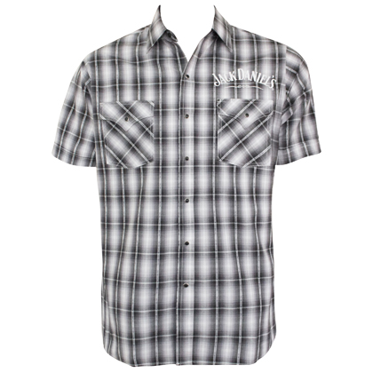Jack Daniels Textured Plaid Short Sleeve Button Up Tee Shirt