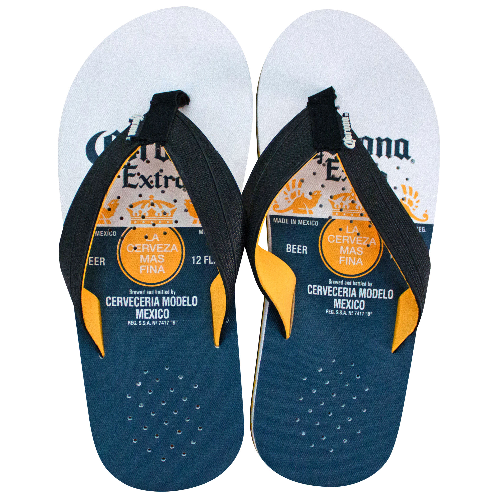Corona Extra Bottle Label Blue And White Sandals