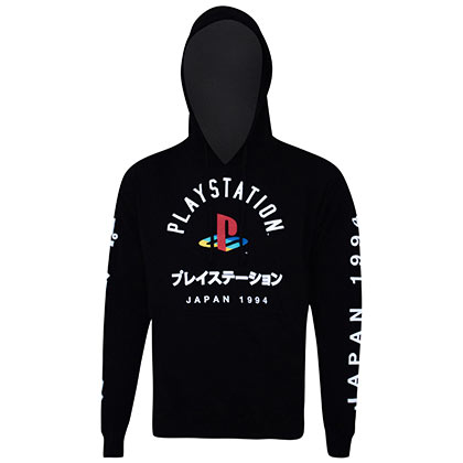 Playstation Men's Black Japanese Logo Hoodie Sweatshirt