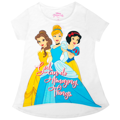 Disney Princesses Girls Do Amazing Things Youth White Tee Shirt