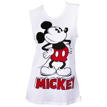 Mickey Mouse Pose Women's White Fashion Tank Top