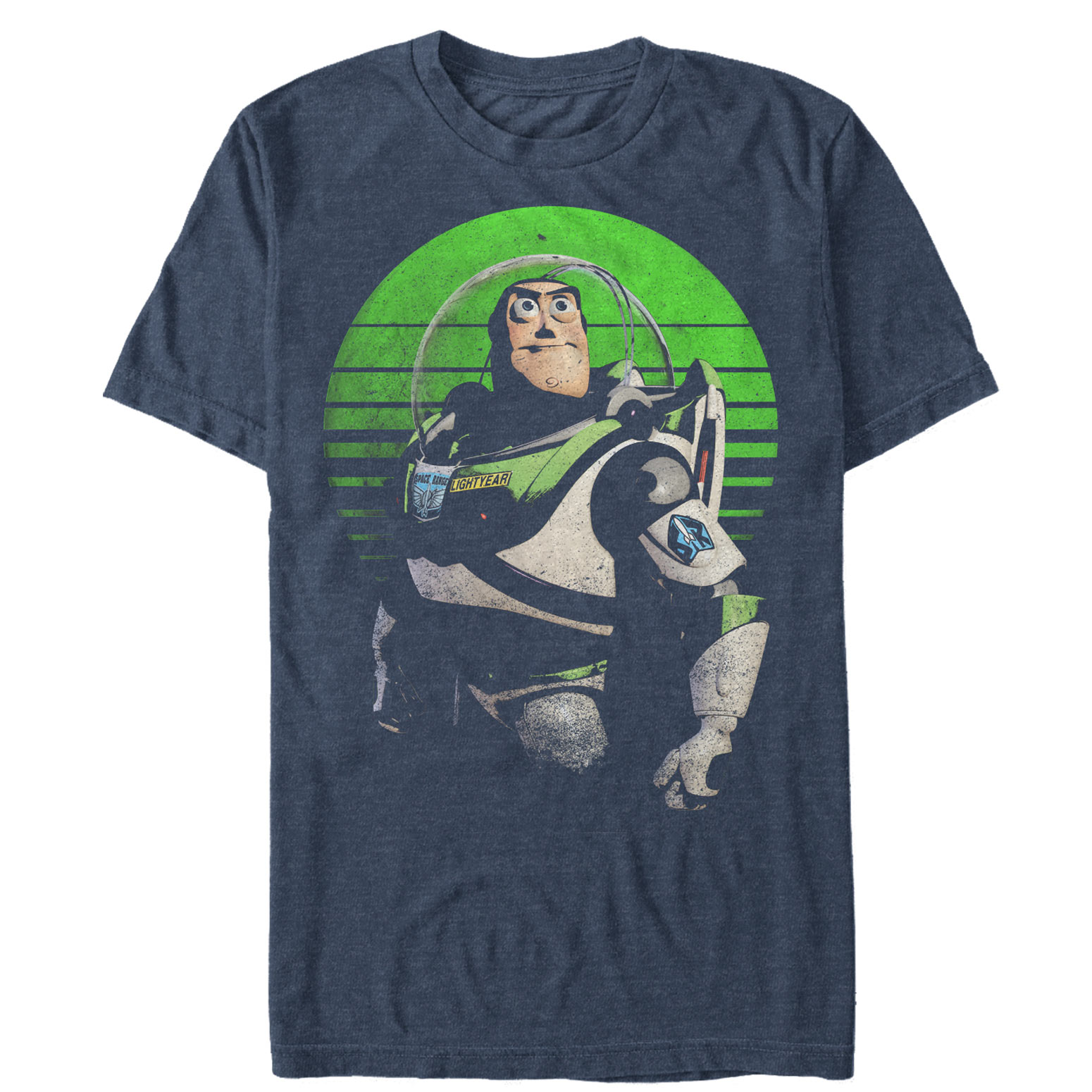 Toy Story Women's Heather Blue Distressed Buzz Lightyear T-Shirt