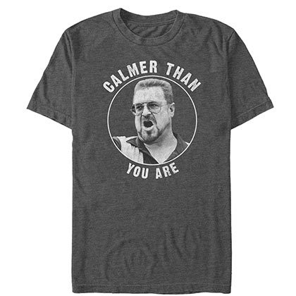 Big Lebowski Men's Grey Calmer Than You Are T-Shirt