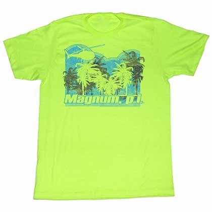 Magnum PI Trees Mens Neon Mint T-Shirt