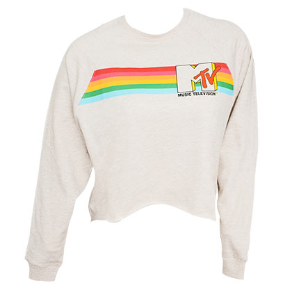 MTV Logo Raglan High-Low Women's Off-White Sweatshirt
