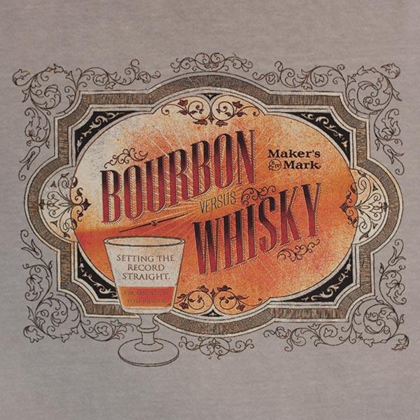 Maker's Mark Men's Brown Whiskey Versus Bourbon T-Shirt
