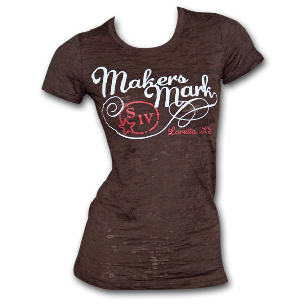 Maker's Mark Logo Brown Burnout Juniors Graphic TShirt