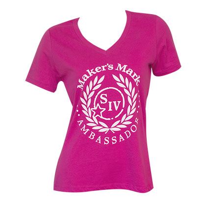 Women's Maker's Mark Pink V-Neck Tee Shirt