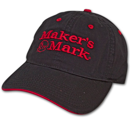 Makers Mark Hat with Red Logo - Black
