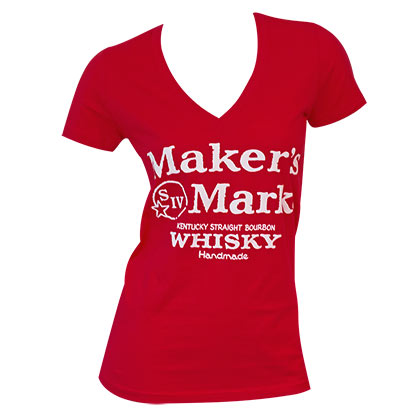 Women's Maker's Mark Red V-Neck Tee Shirt
