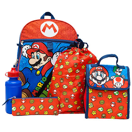 Super Mario Bros. 5 Piece Backpack Travel Lunch Set