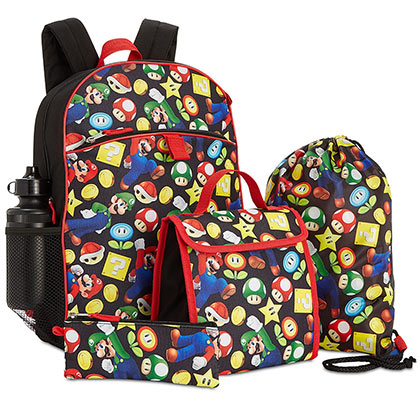 Super Mario Bros. Black 5 Piece Lunch/Backpack Set