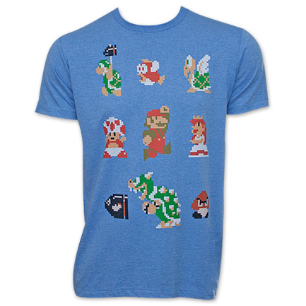 Nintendo Men's Mario Pixelated Cast Tee Shirt