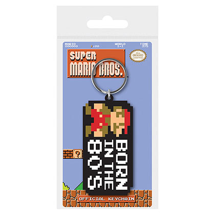 Nintendo Super Mario Bros Born In The 80s Rubber Keychain